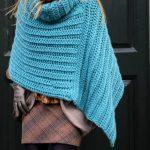 teal blue crochet poncho