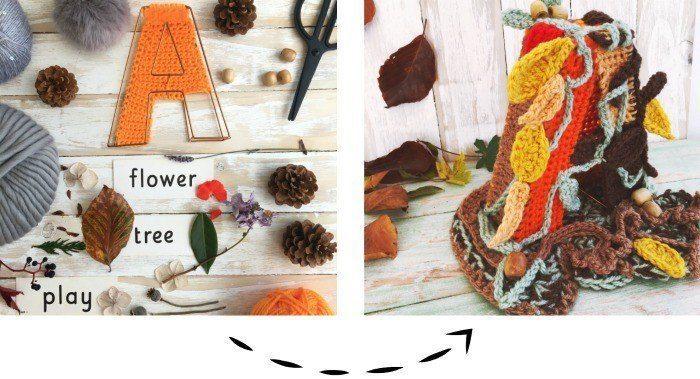 crocheted autumn letter a
