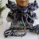 ruff neck crochet cowl on display head