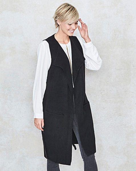 JD Williams black sleevless long cardi