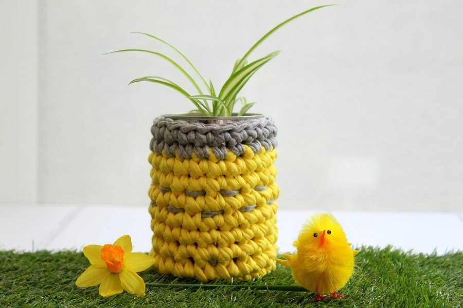 A cute easter gift without chocolate a simple diy idea for you free crochet pattern how to crochet a plant pot holder negle Choice Image