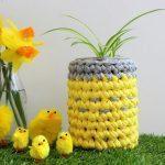 crochet plant pot holder Easter gift idea