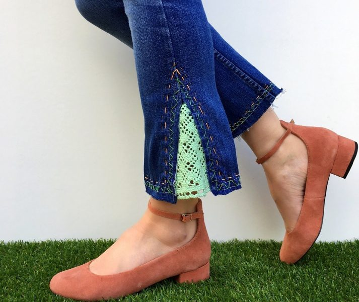 Embroidery trend diy jeans makeover