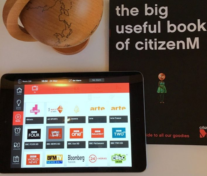 Ipad room controller CitizenM hotel