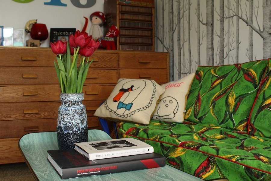 sitting room with cole and son wallpaper 'woods'