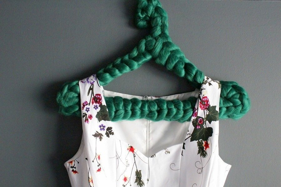 wire coat hanger recycled with crochet