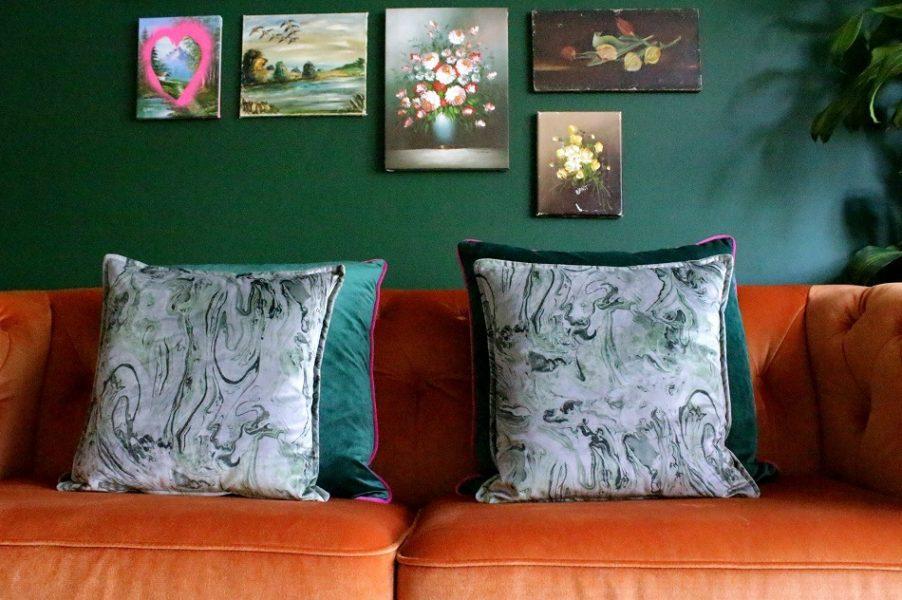 velvet marble cushions