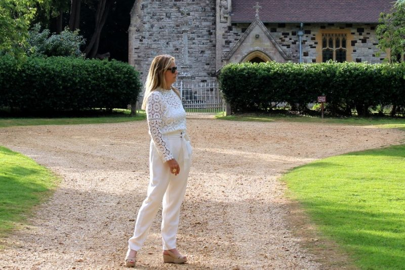 5 over 50 june cream trousers from mango and blouse from Jd william