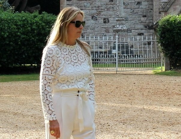 cream trousers from mango and blouse from Jd william