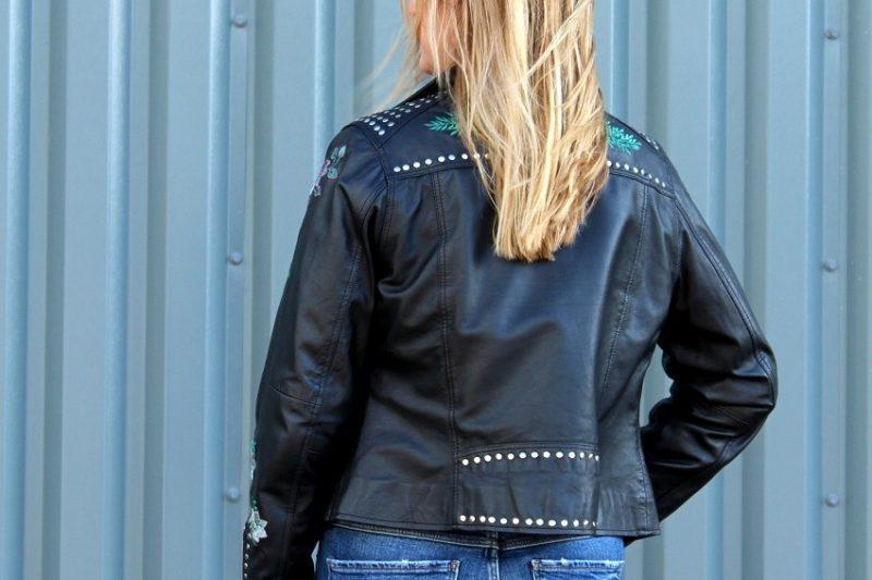Embroidered Leather Biker Jacket 4 ways...