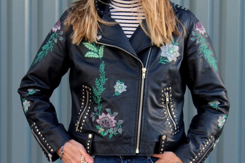 Embroidered Leather Biker Jacket 4 ways...