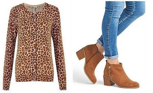 Animal print Cardigan and Sole Diva Lucy side zip boots.