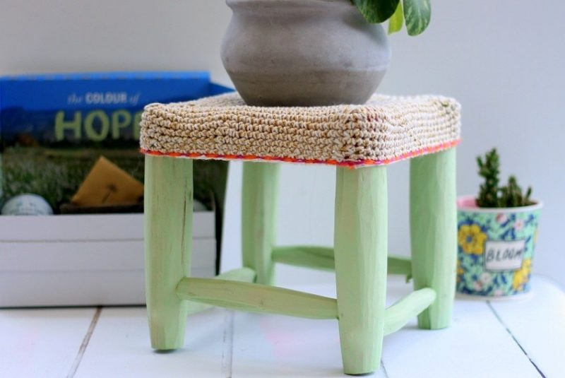 Lem Lem Annie Sloan's new Colour on my little Moroccan Stool lazy daisy jones blog