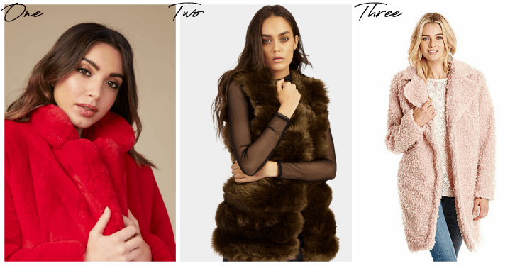 red and grey faux fur bargains from lazy daisy jones