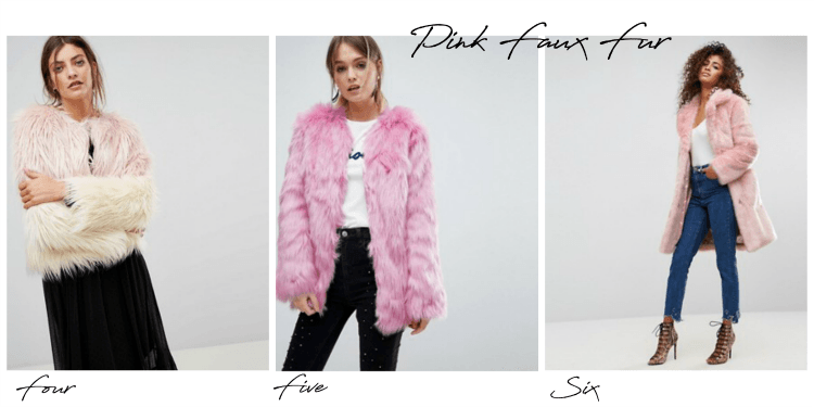pink faux fur all from asos by lazy daisy jones