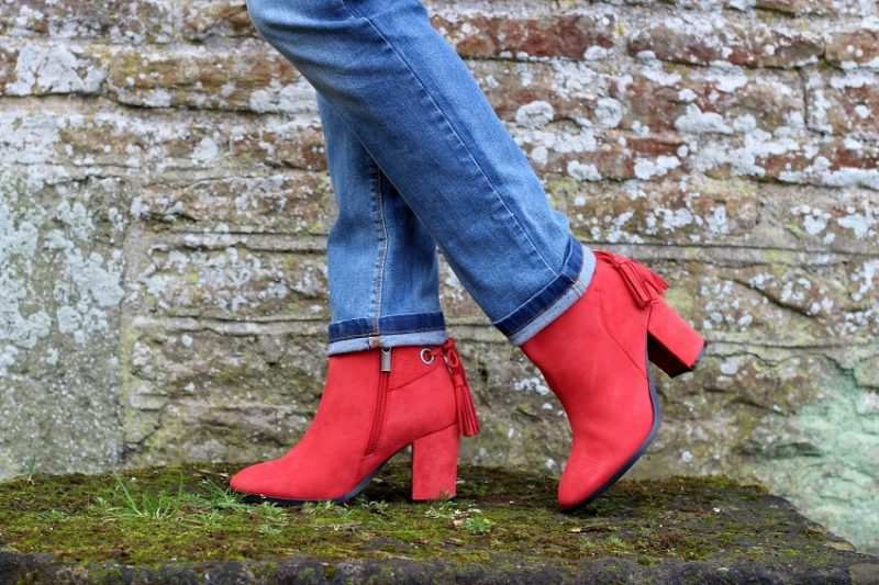image of red suede ankle boots