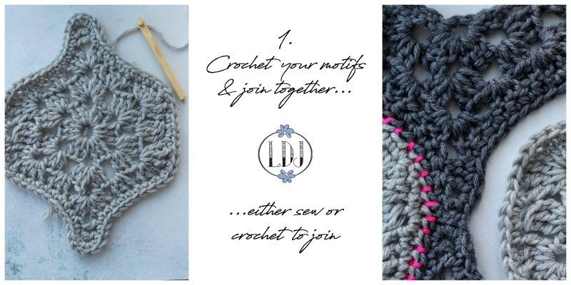 image explaining how to make a crochet wall hanging
