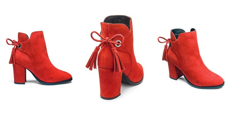 image of casual sunday outfit lazy daisy jones red suede boots