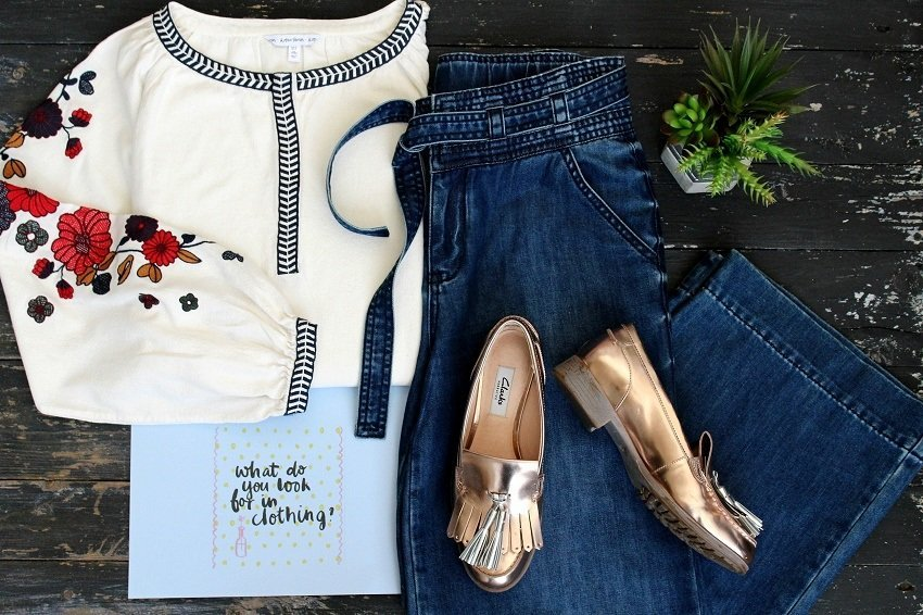 jeans blouse and shoes laid flat casual outfit suggestion