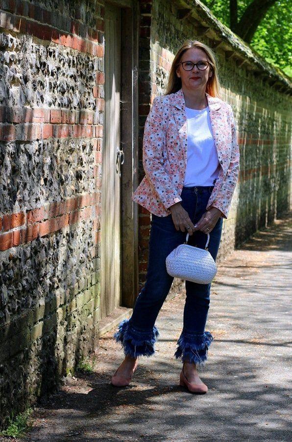 New Damart Floral Blazer a Vintage Bag & Old Jeans