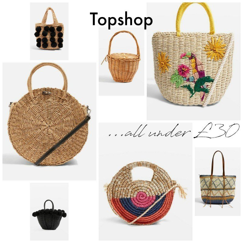 straw basket bags from topshop chosen by lazy daisy jones