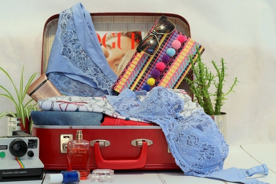 triumph amourette bra and briefs in a suitcase
