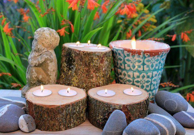 how to make rustic log tealight holders