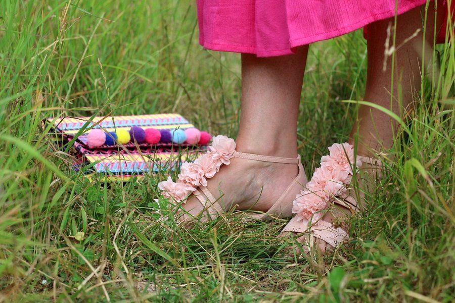Lotus beaded flower sandals