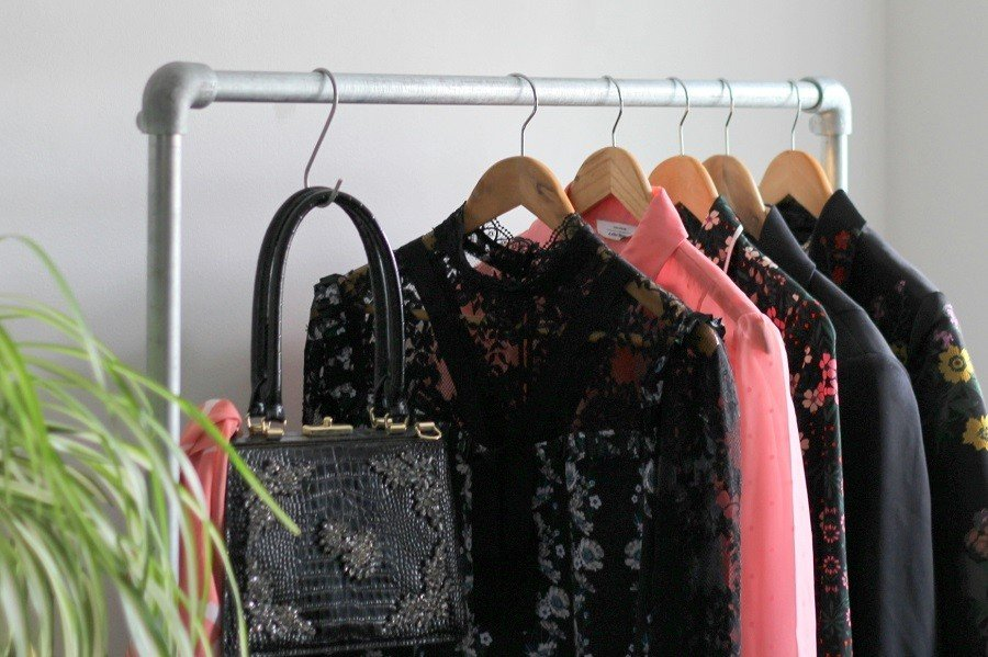 Pink and Black on my Industrial Ziito Clothes Rail