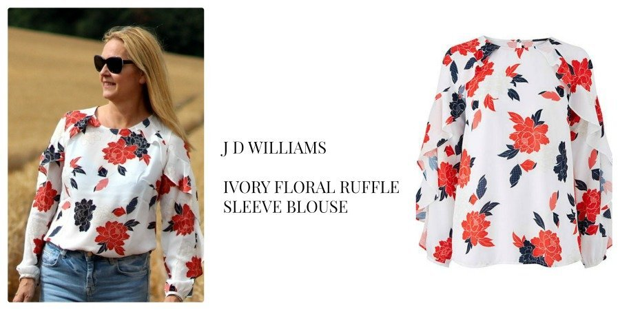 J D williams ruffled sleeved blouse worn by Lazy daisy jones