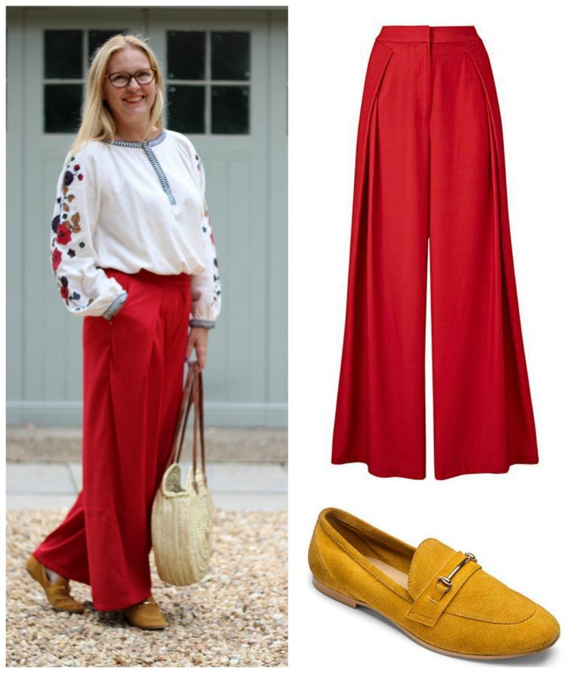 Mixing an old favourite with my new red trousers & mustard loafers