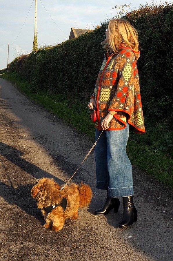 Pavers Boots Wearing A Vintage Welsh Blanket Cape in a Modern Style