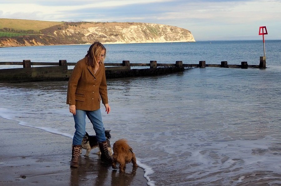 Vintage Laura Ashley on Swanage Beach in January!