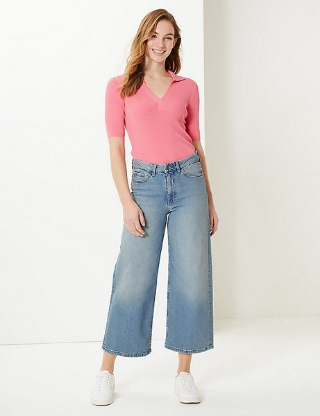 m & s wide cropped jeans