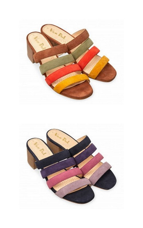 VanDal Shoes Burnham midnight and tan suede mules