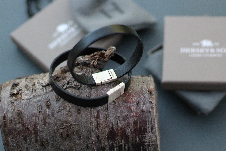Hersey and Son leather and sterling silver bracelet