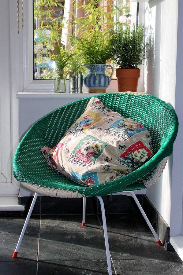 vintage plastic woven chair