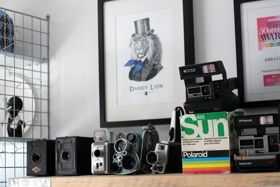 vintage Polaroid collection home office inspiration