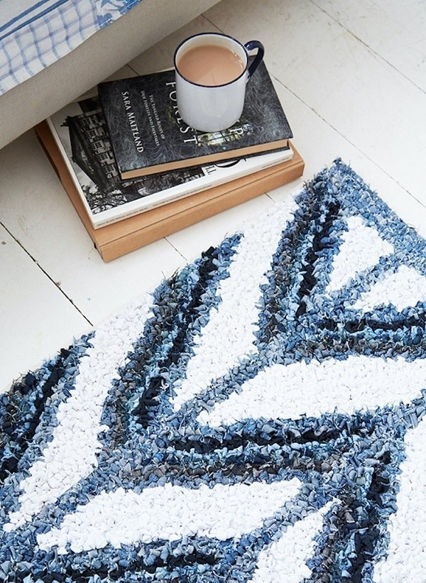 one of Elspeth's rag rugs, made from denim strips