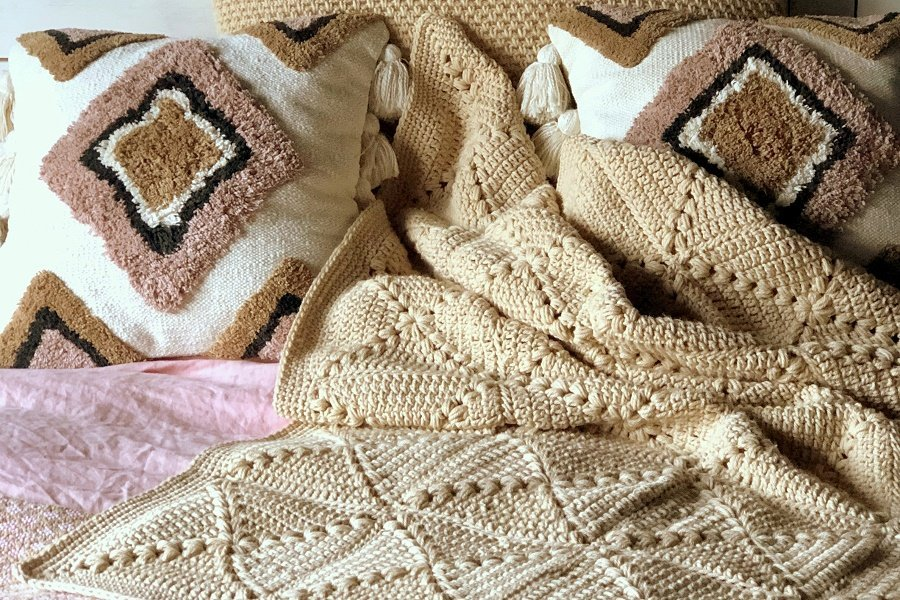 farmhouse granny square crochet blanket