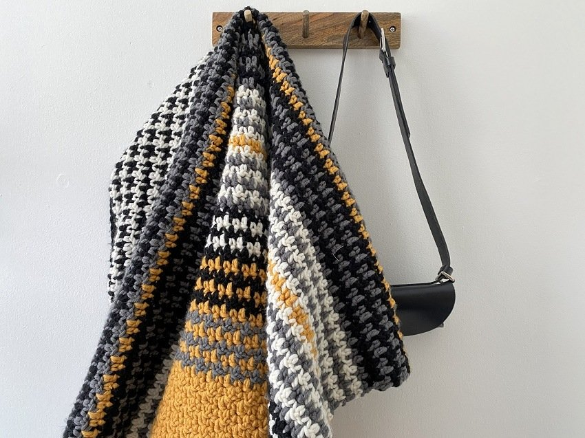 stripey textured crochet blanket