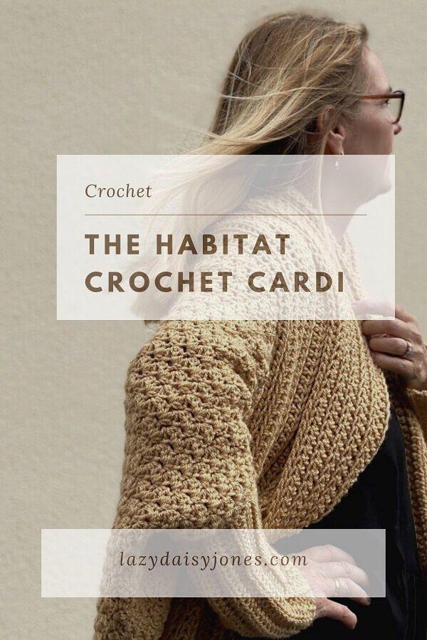 Beige handmade chunky habitat crochet cardigan
