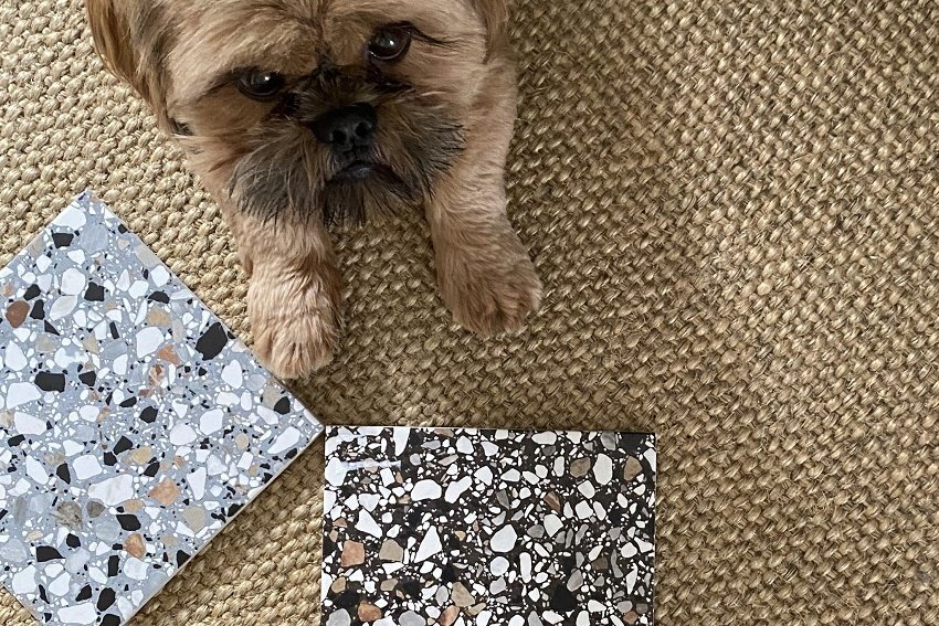 my tile choices black and grey terrazzo tiles