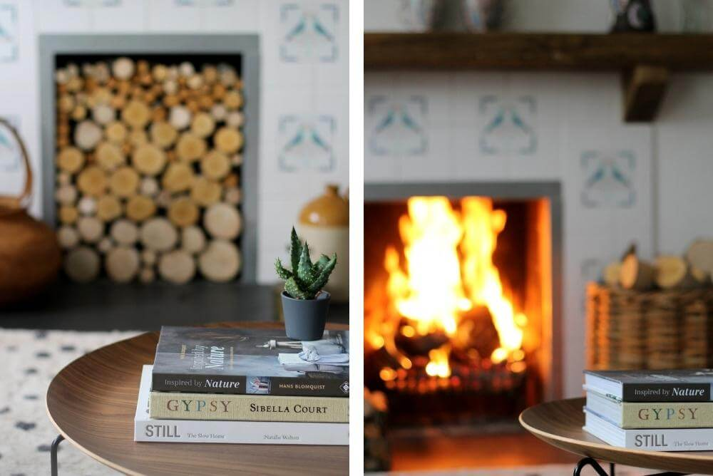 summer to winter fireplace