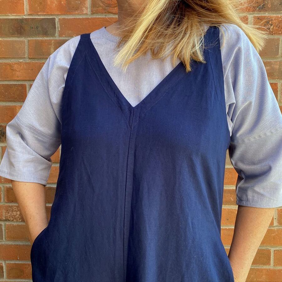 wearing the blue cotton wiksten