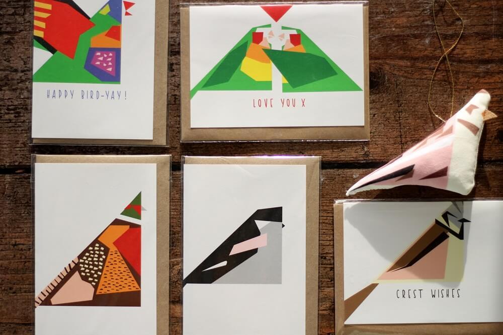 twenty birds tree decorations and cards