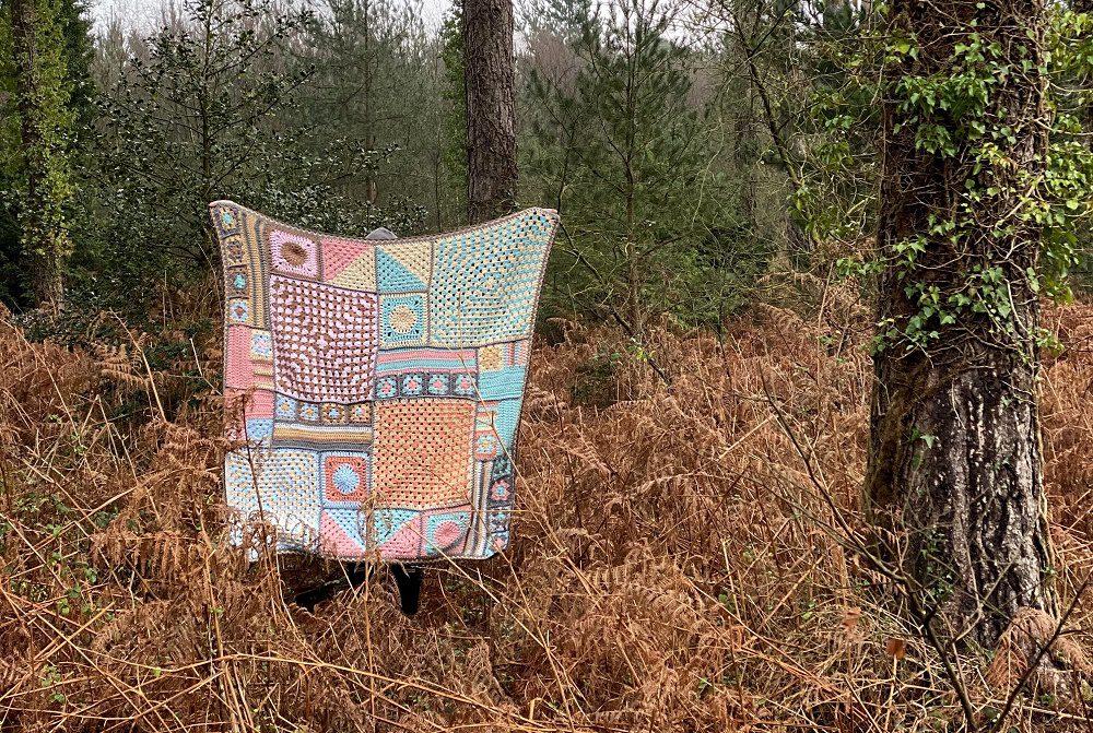 crochet granny square blanket in the wild.