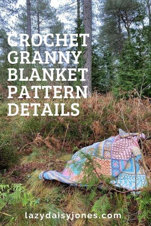 granny square crochet blanket in the wild woods