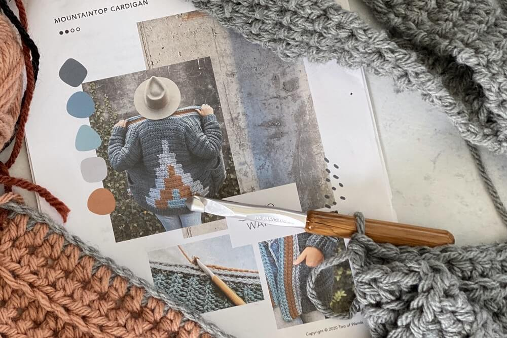 mountain top cardigan crochet pattern by Two of wands