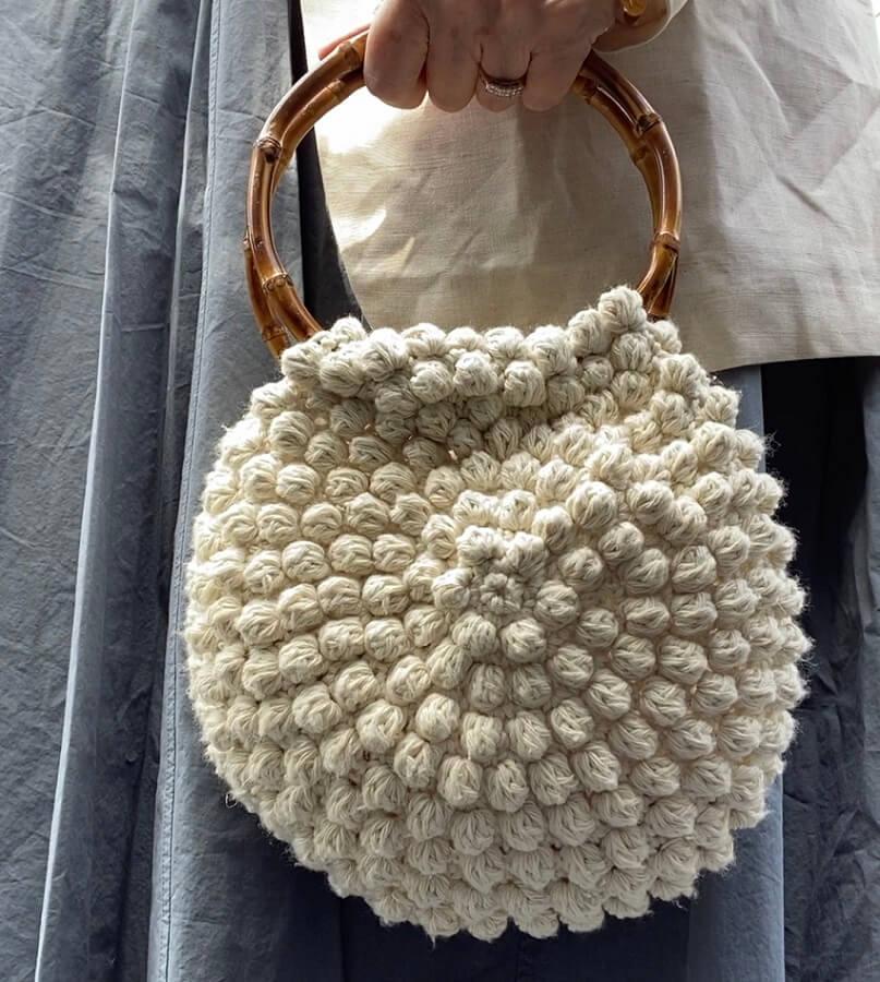 crochet bobble stitch bag with bamboo handlesby lazy daisy jones
